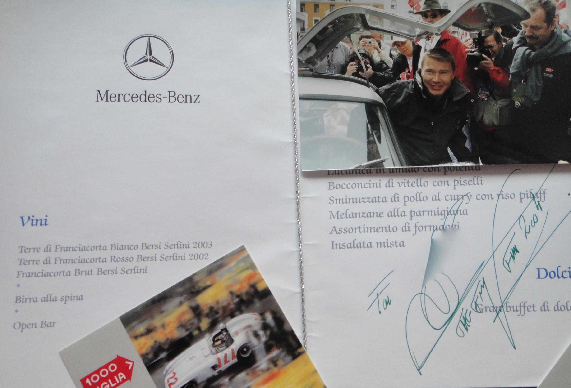 Mille Miglia menue & Mika Häkkinen autograph