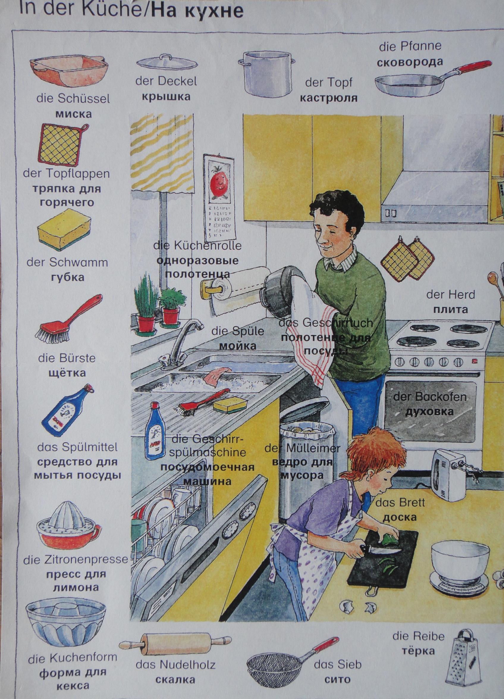 In the kitchen - German / Cyrillic