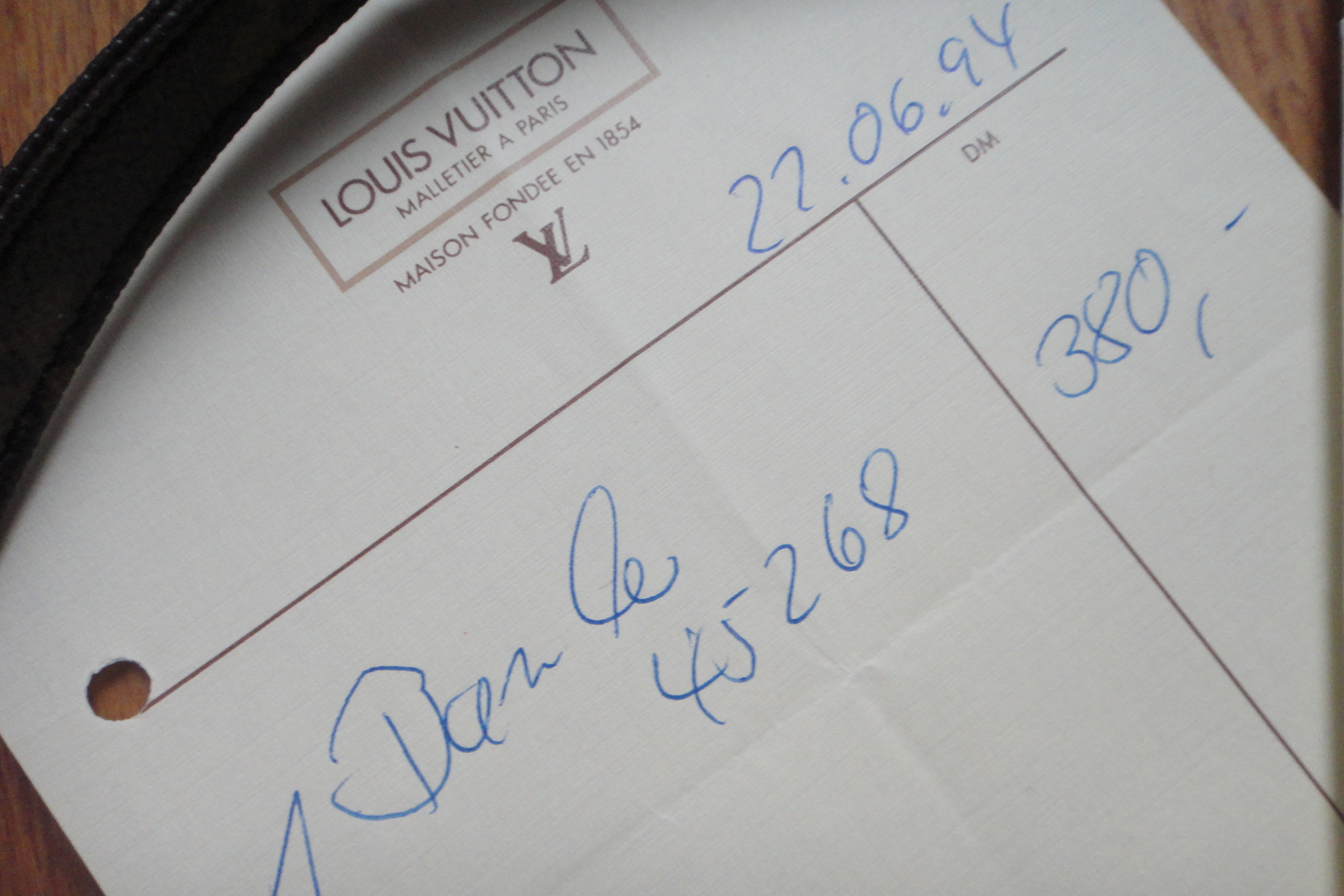 invoice of my first Louis Vuitton bag - Rechnung meiner ersten Louis Vuitton Tasche