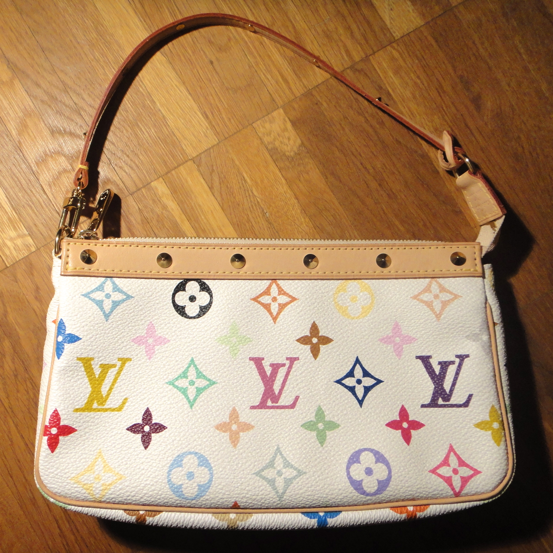 Louis Vuitton Handtasche Weiß Bunt