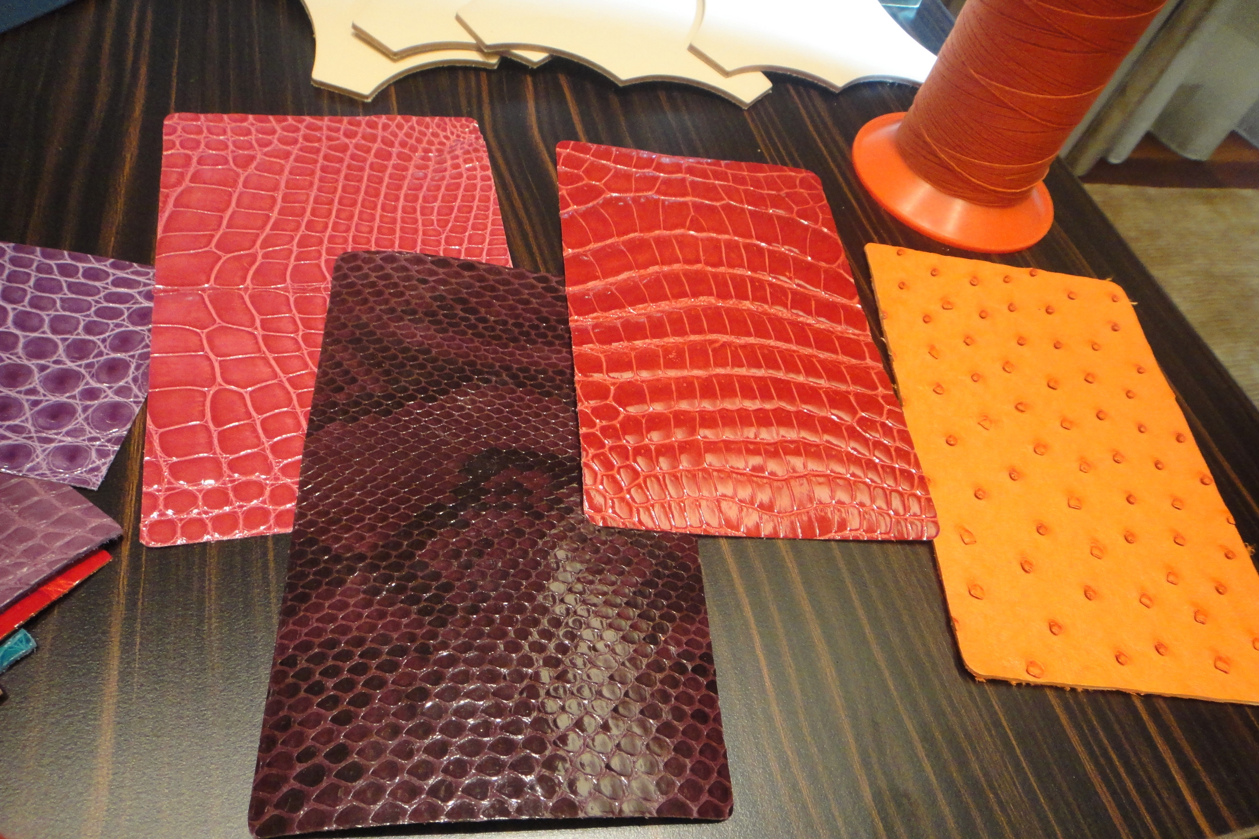 exotic leathers: alligator, python, crocodile, ostrich