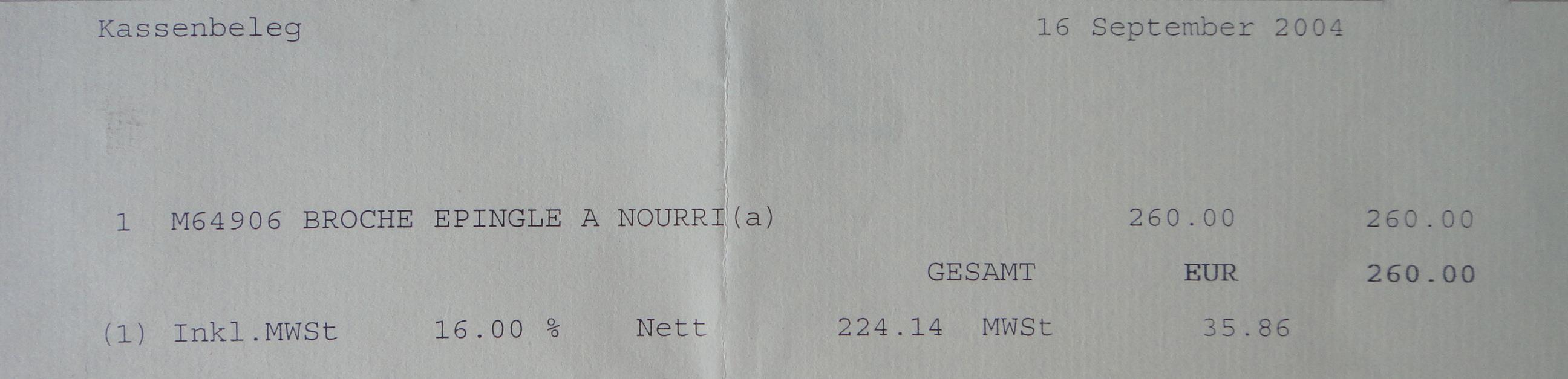 from the invoice / aus der Rechnung