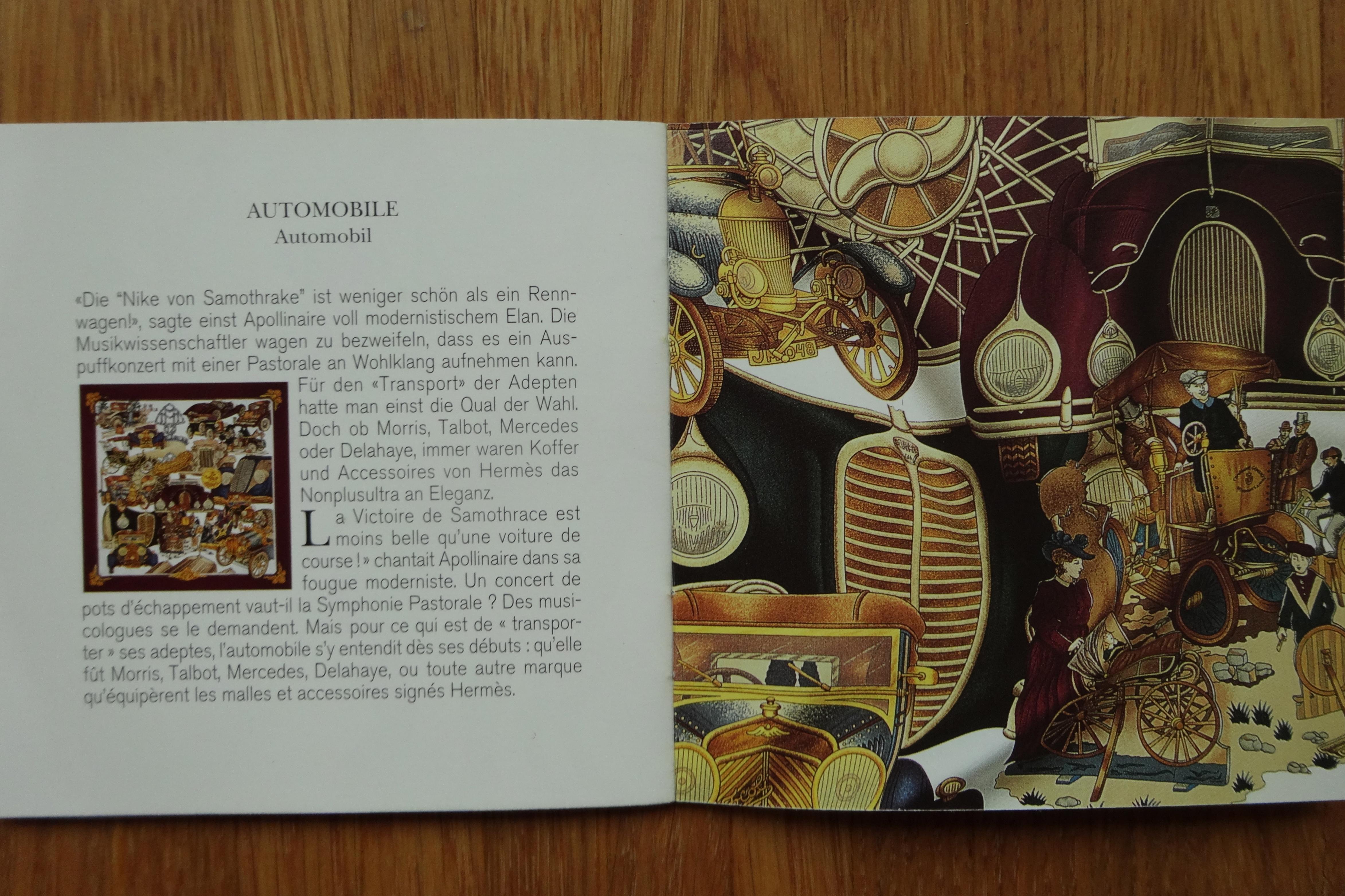 excerpt of Hermès carré booklet AUTOMOBILE