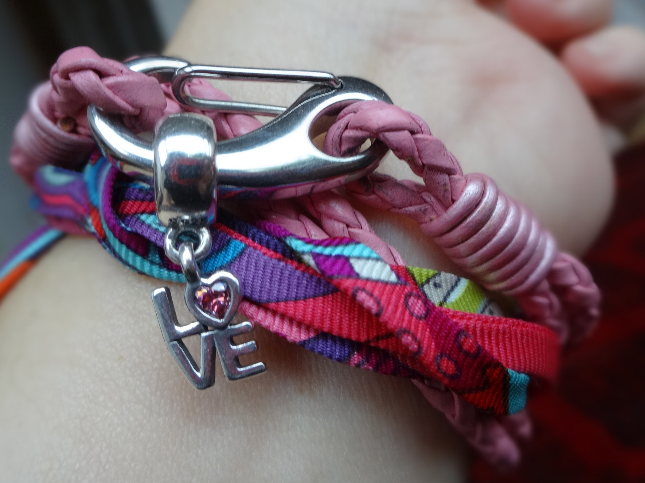 Pandora LOVE charm with NEW ONE bracelet and Hermès silk spaghetti