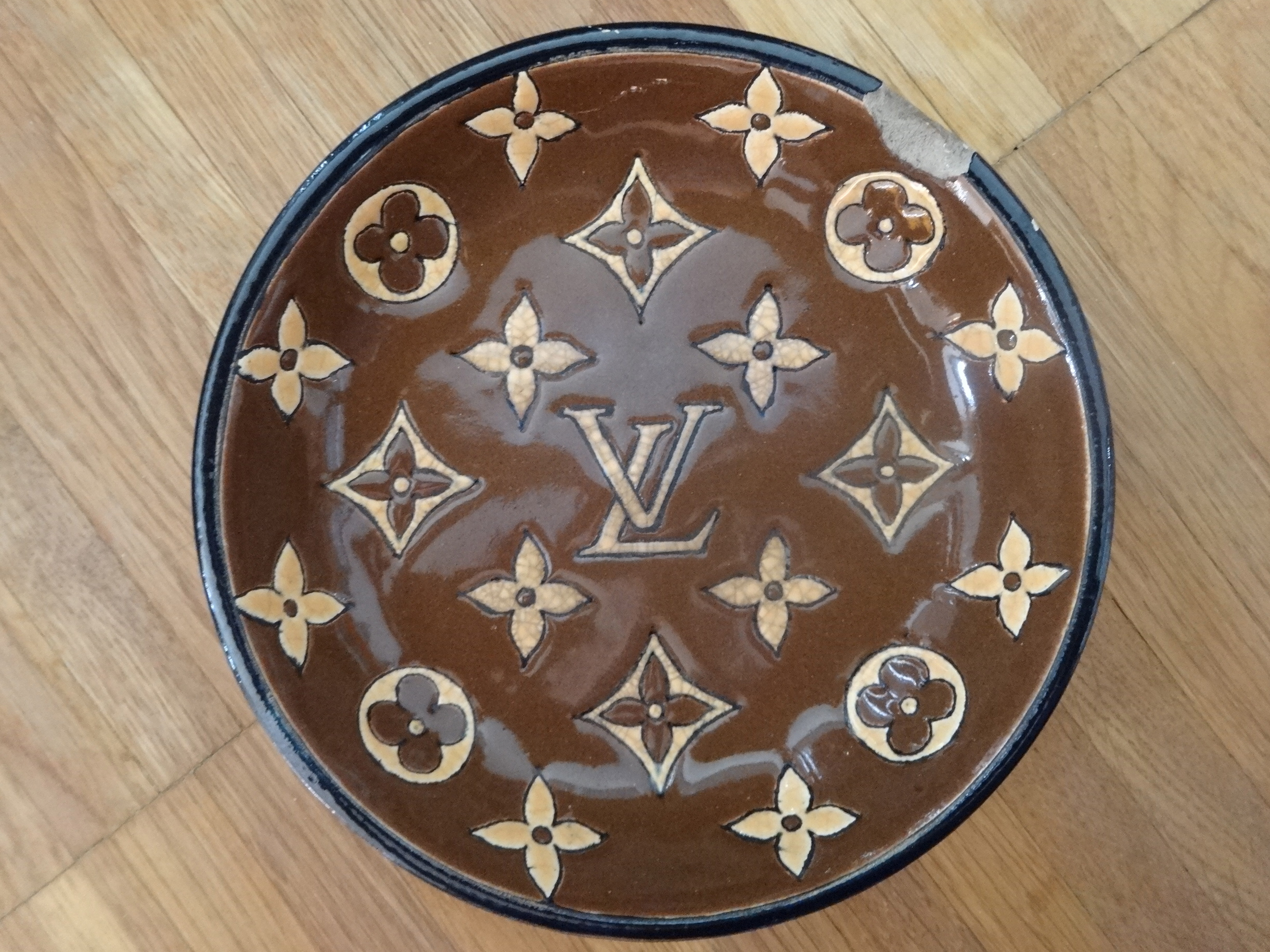 Louis Vuitton ashtray by Emaux de Longwy