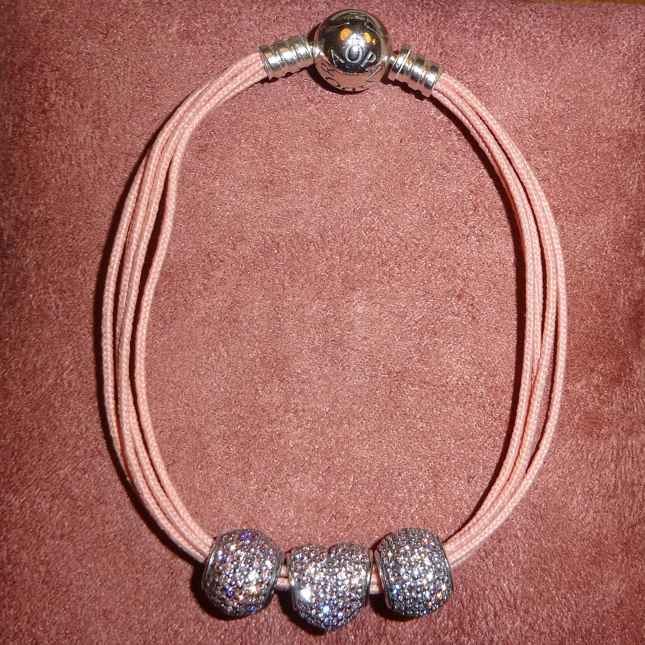 Pandora Pavé Charms on Moments Multi-Strand Bracelet, soft pink