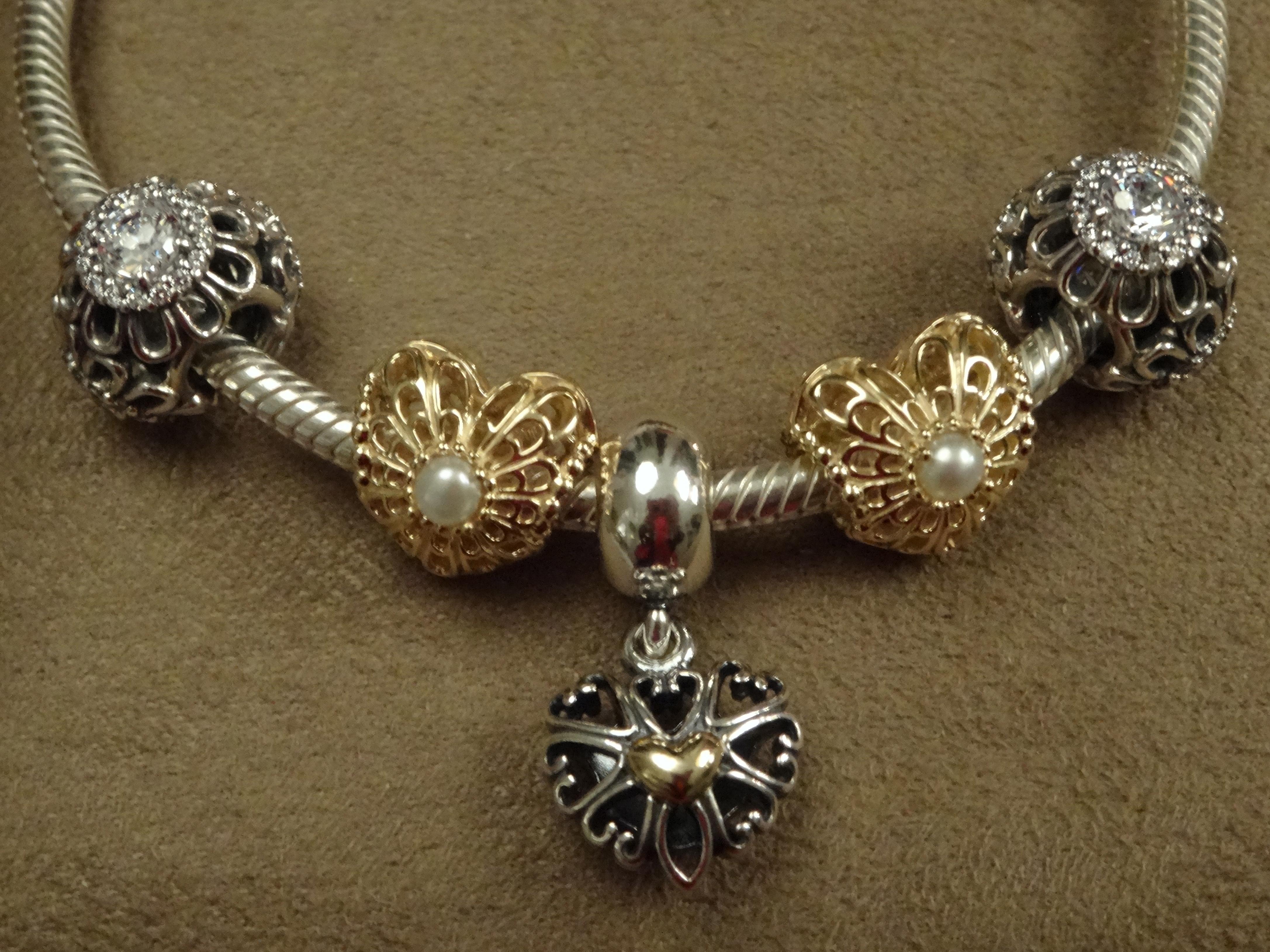 Vintage Perlenherz offen,