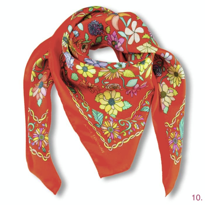 Anne Touraine Floral Red Scarf, USD 320