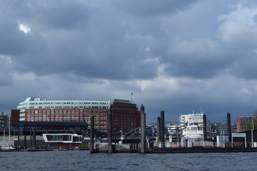 Hamburg Harbour on a stormy day
