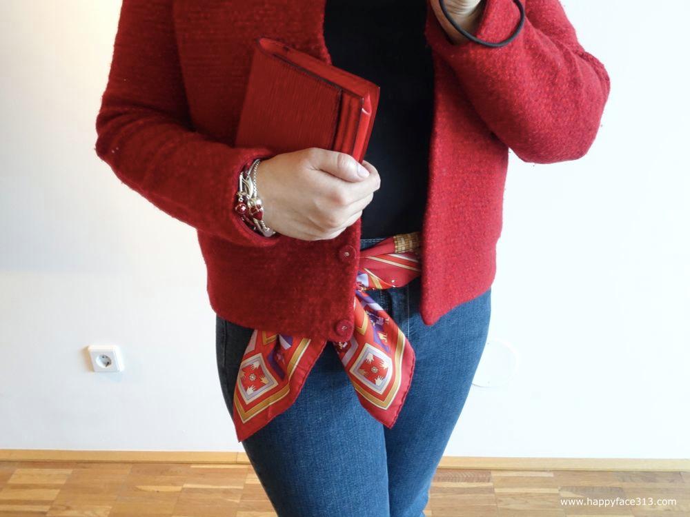 Louis Vuitton Epi Pochette Tilsitt, Hermès scarf, COS jacket, C&A jeans