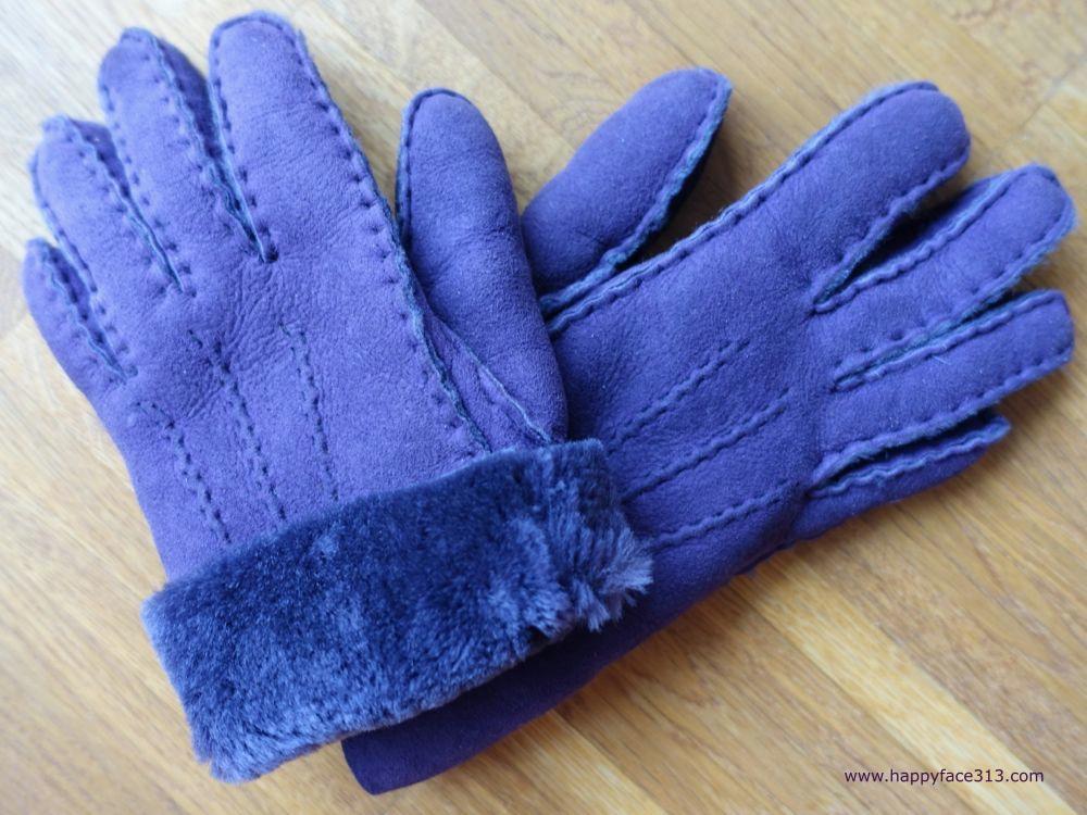 purple lambskin gloves / gefütterte lila Lammfell Handschuhe