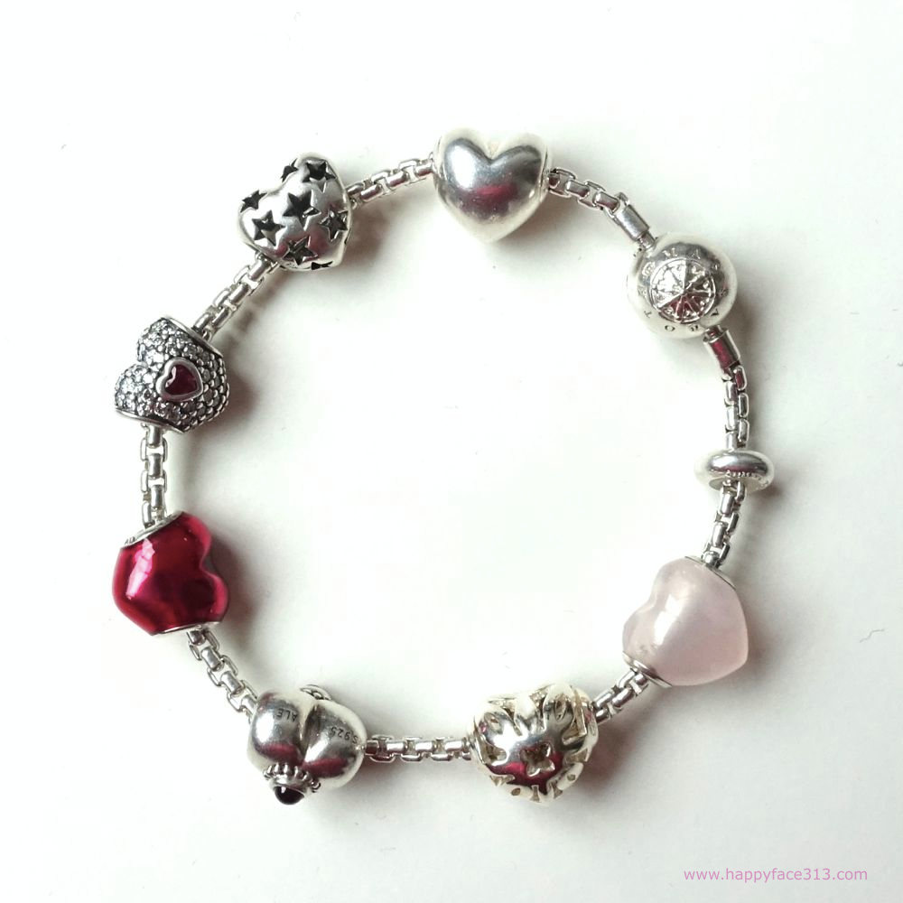 Happy Hearts! Pandora and Thomas Sabo beads on TS Karma Bead bracelet