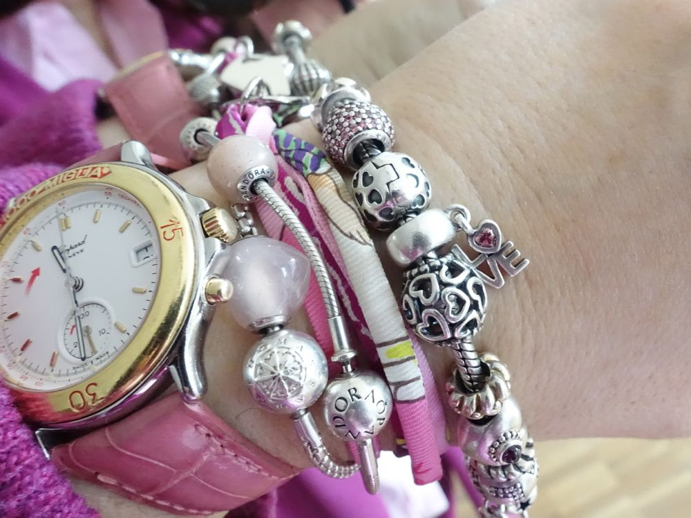 mixing my arm candy - Pandora, Thomas Sabo, Hermès and vintage watch