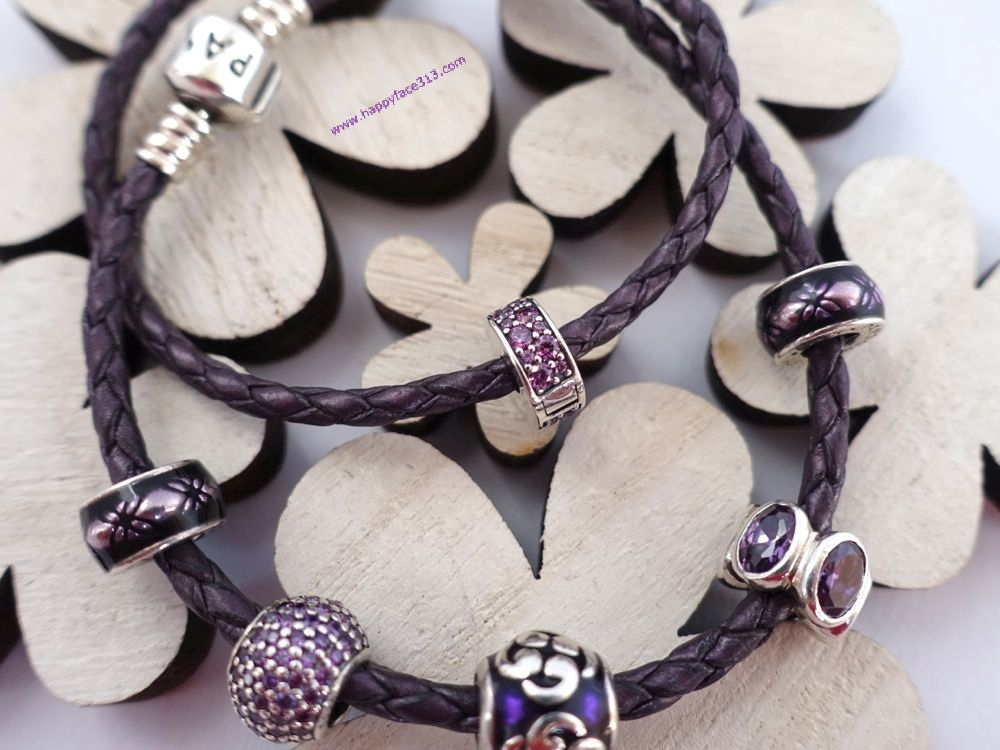 Pandora - purple leather bracelet with matching charms
