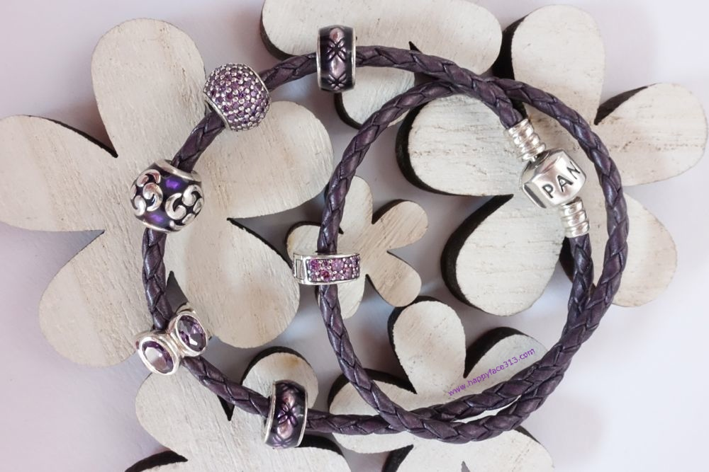 Pandora - leather bracelet with Fancy puple Shining Elegance Clip and other charms