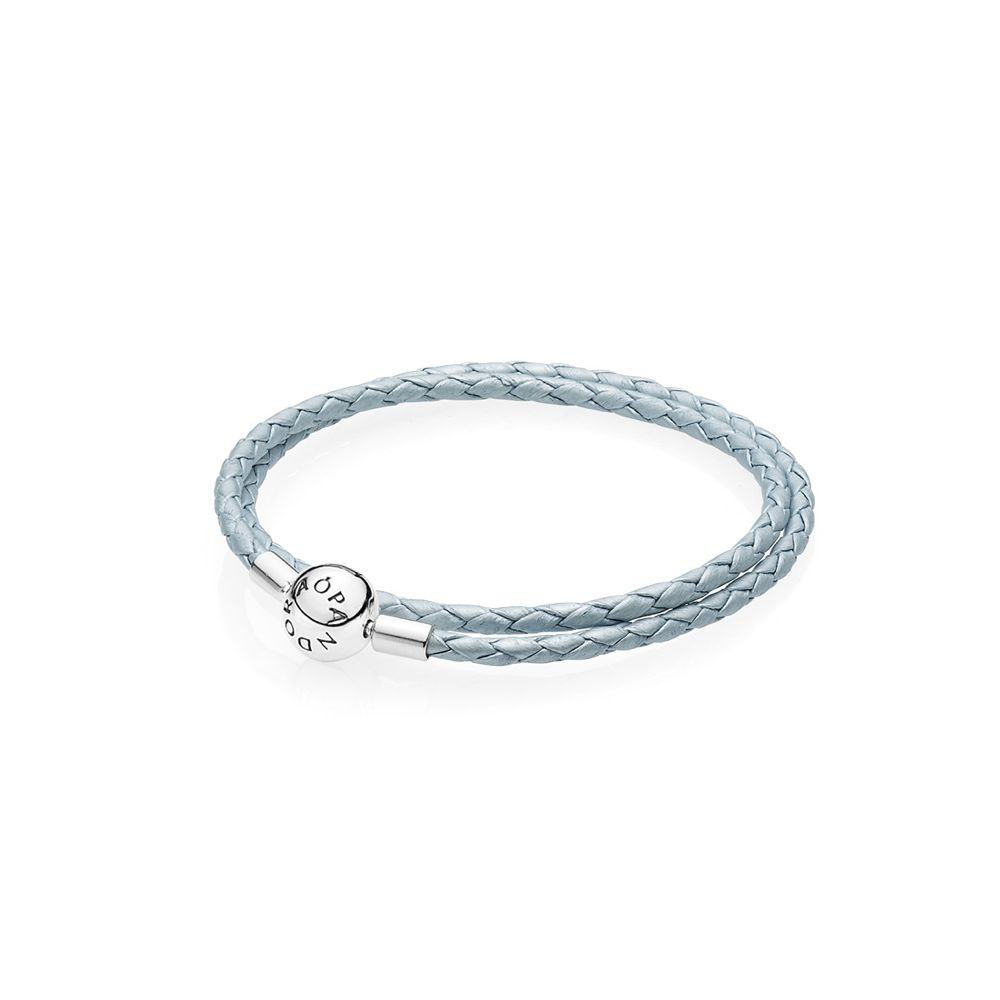 hellblaues Lederarmband - light blue leather bracelet - © Pandora