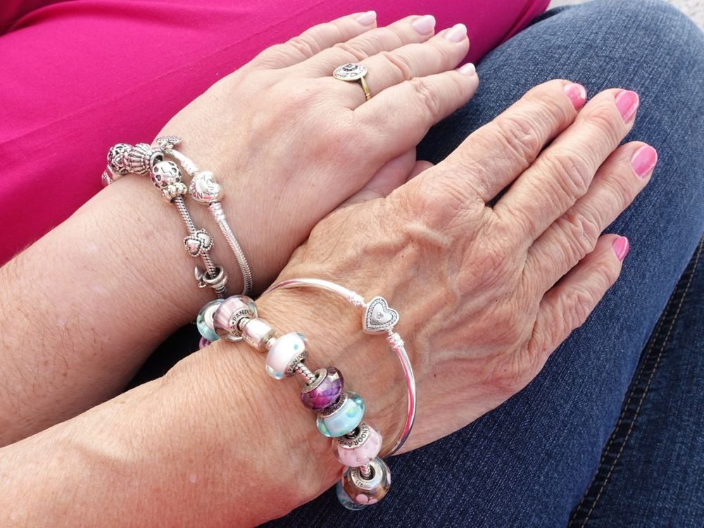 both of us wearing our PANDORA bracelets - #UniqueAsWeAre #PandoraMe