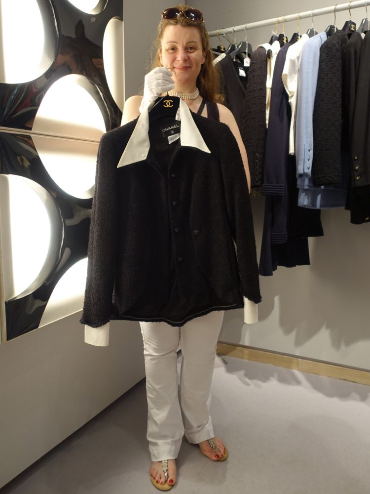 My friend N with her vintage CHANEL Little Black Jacket