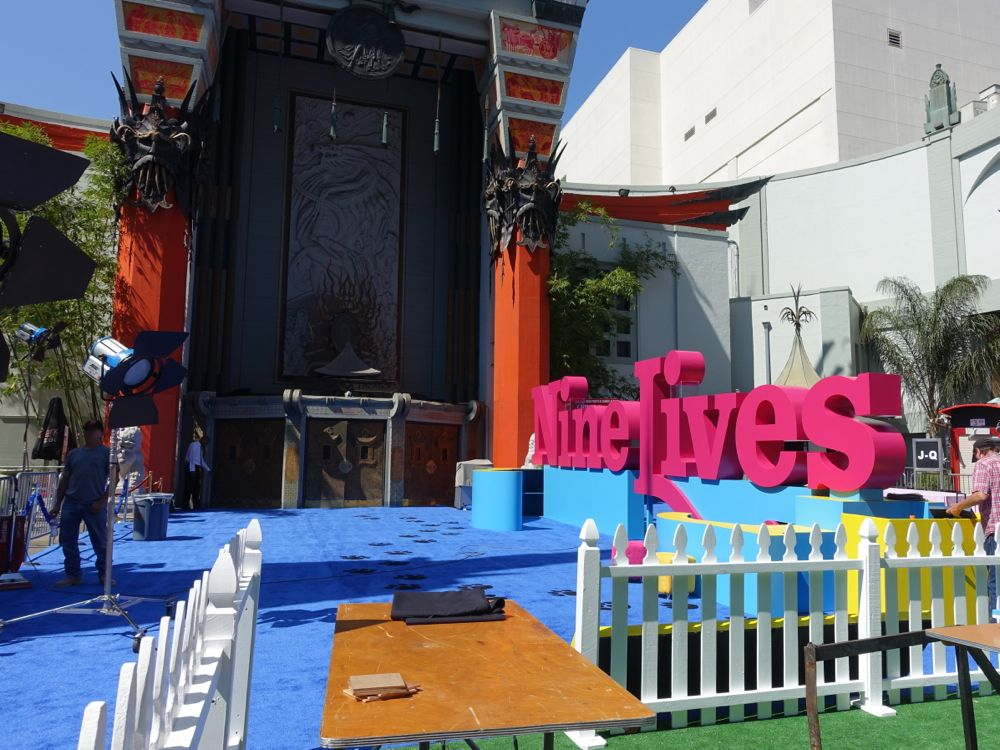 Preparations for movie premiere at Grauman's Chinese Theatre