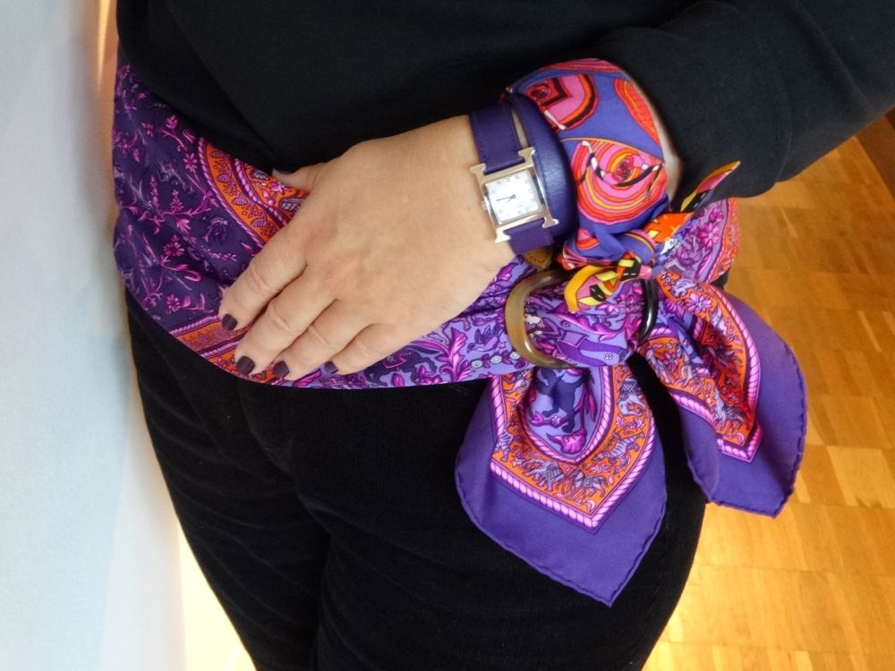 purples - scarf, twilly, watch and nails