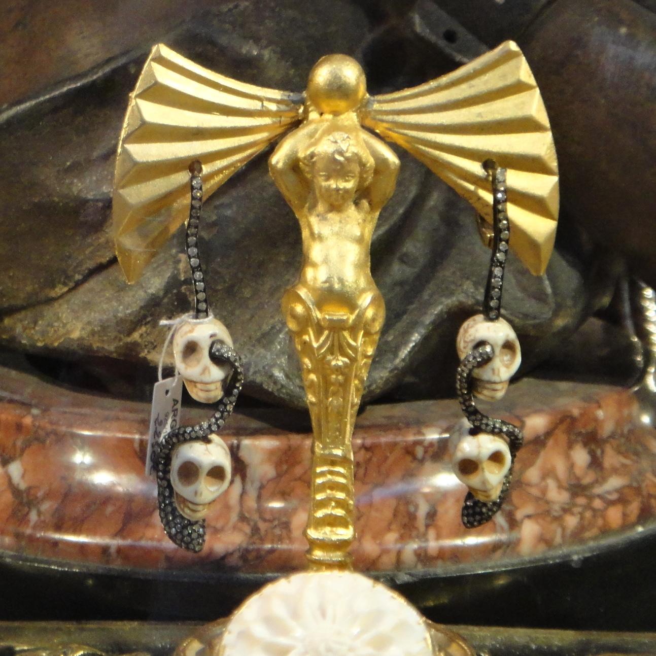 antique ivory and diamond skull-snake earrings
