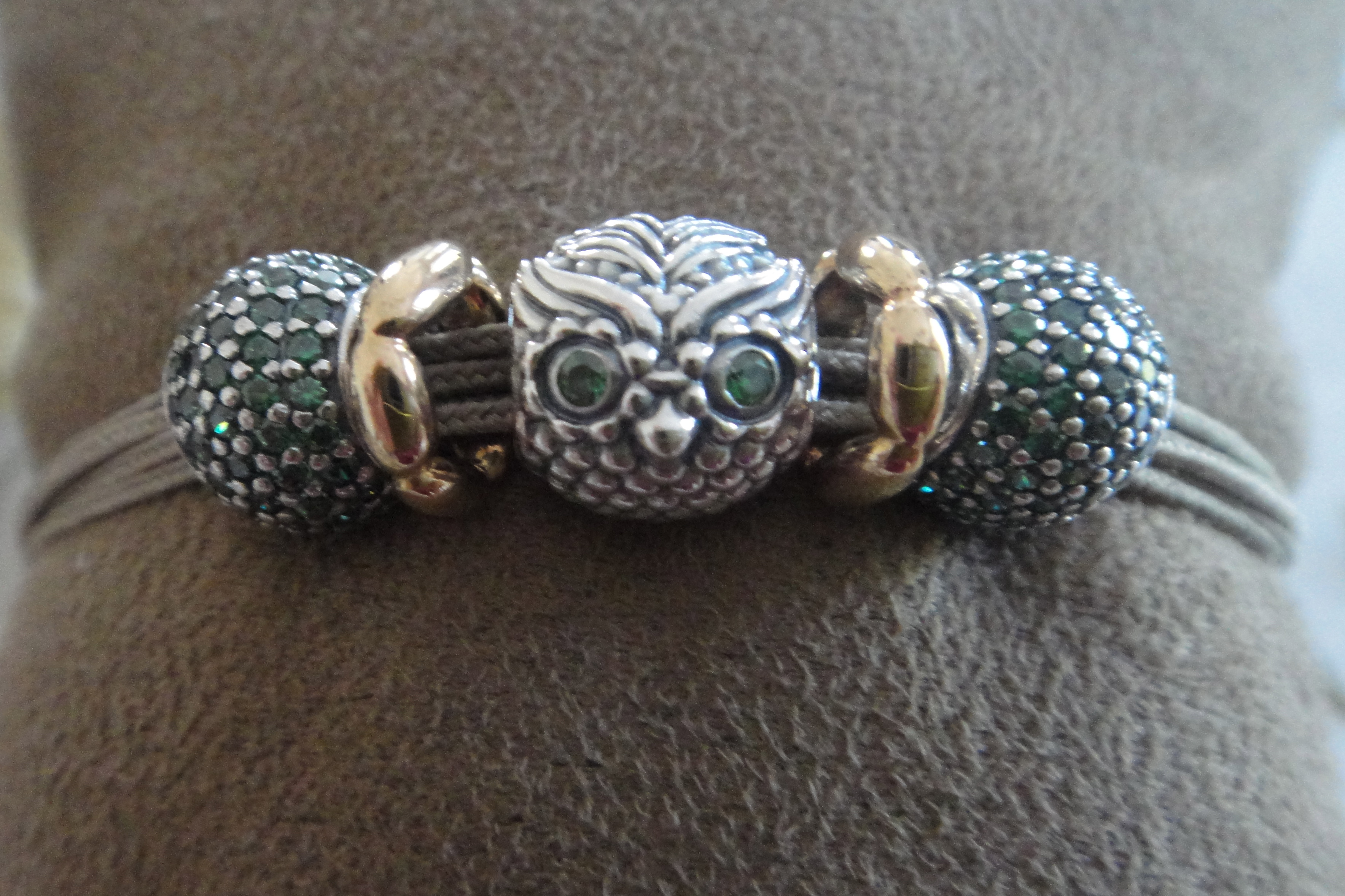 dark green pavé ball, wise owl