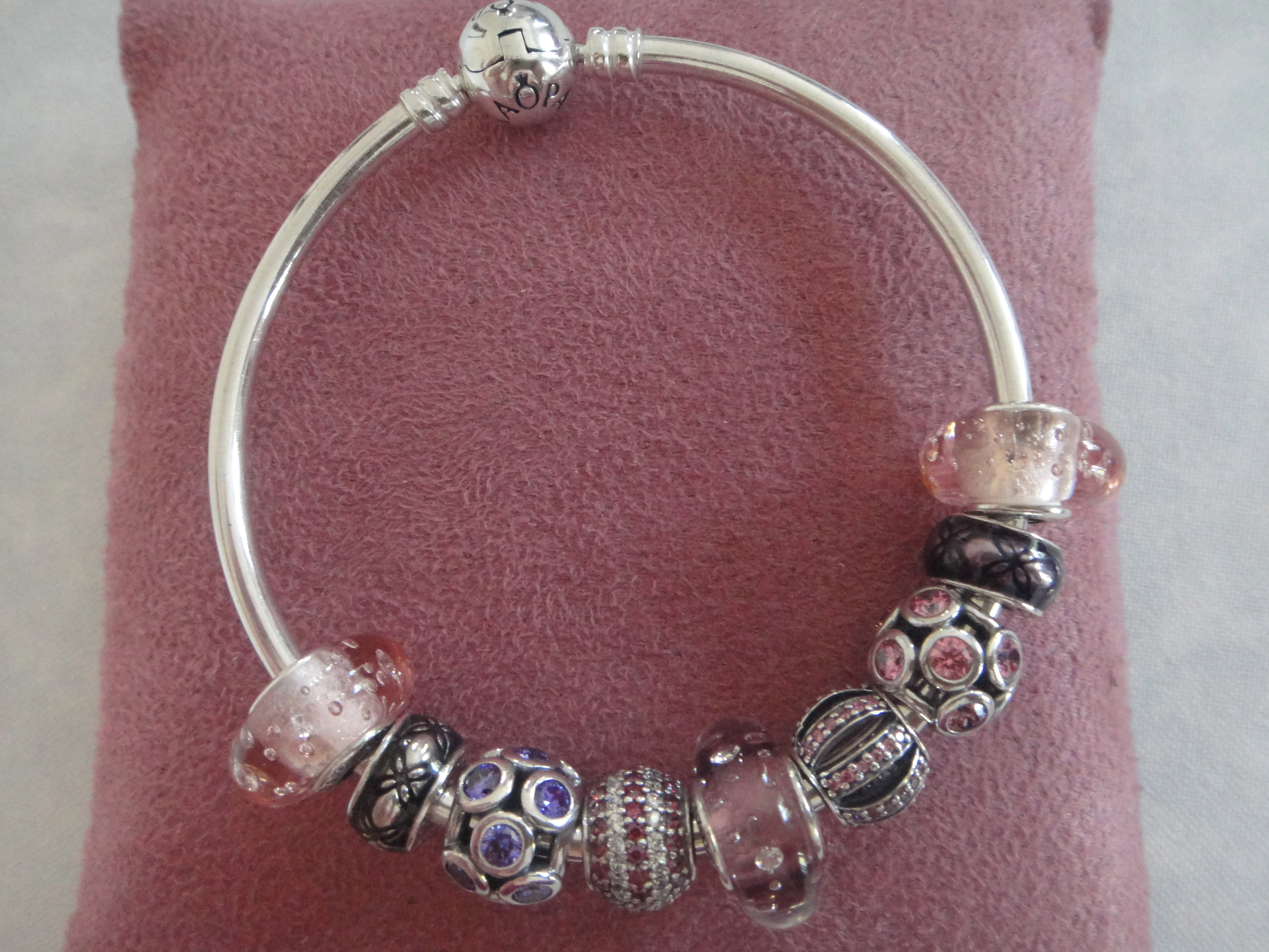 Pandora Colour Splash -Pink Fizzle Glass: Murano glass, cubic zirconia
