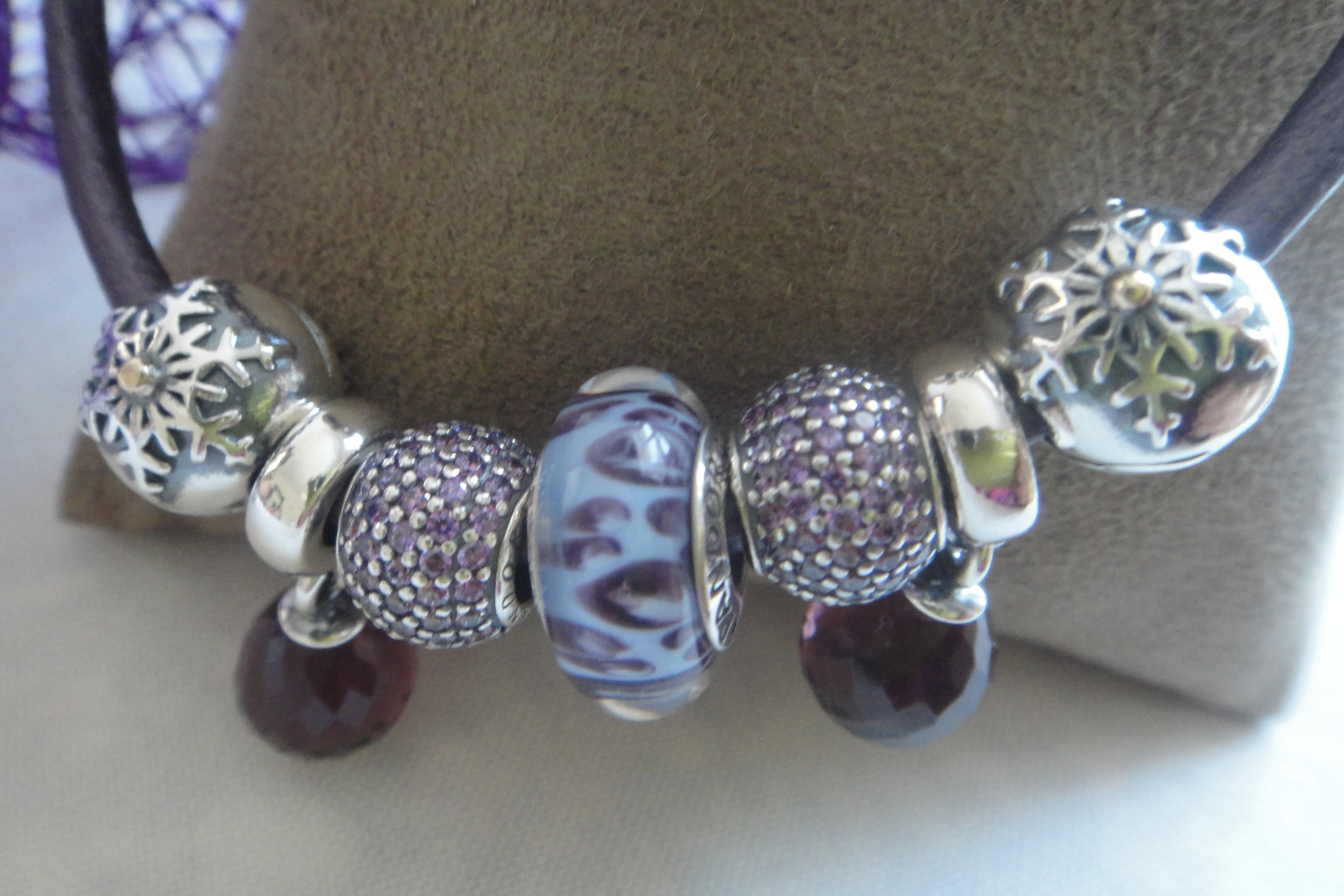 Snowflake Clip, purple Murano glass, Fancy purple Pavé Ball.