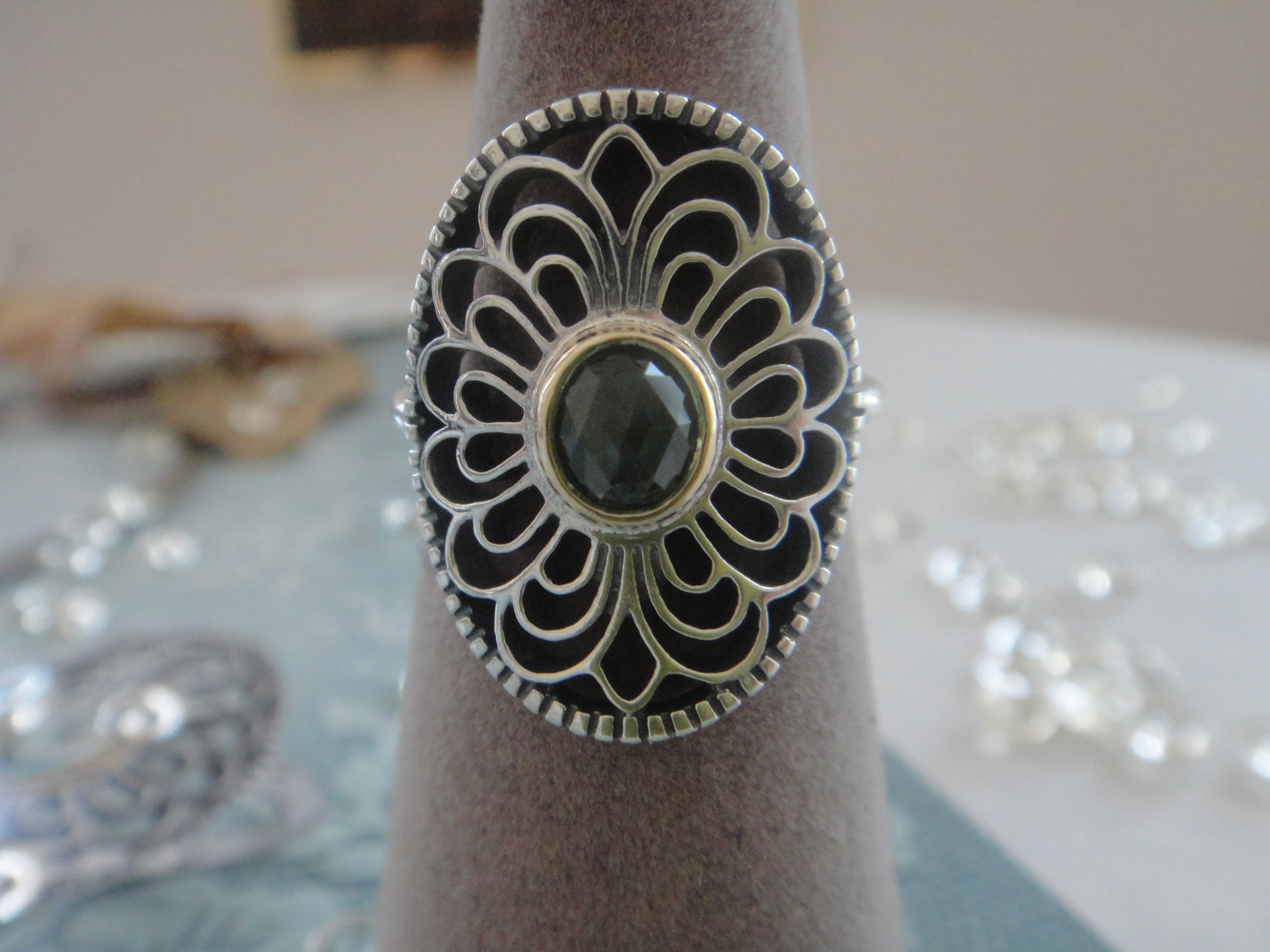 Sterling Silver Ring w/14k gold and bezel set green synthetic spinel