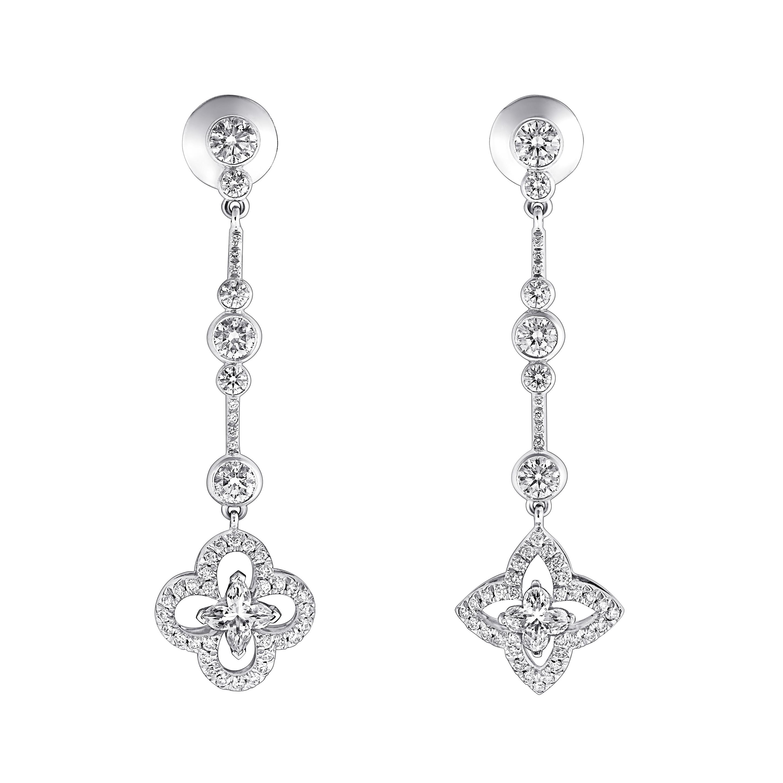 Les Ardentes - earrings w/2 LV center stones 0.36ct each, 90 brillant diamonds 117 ct