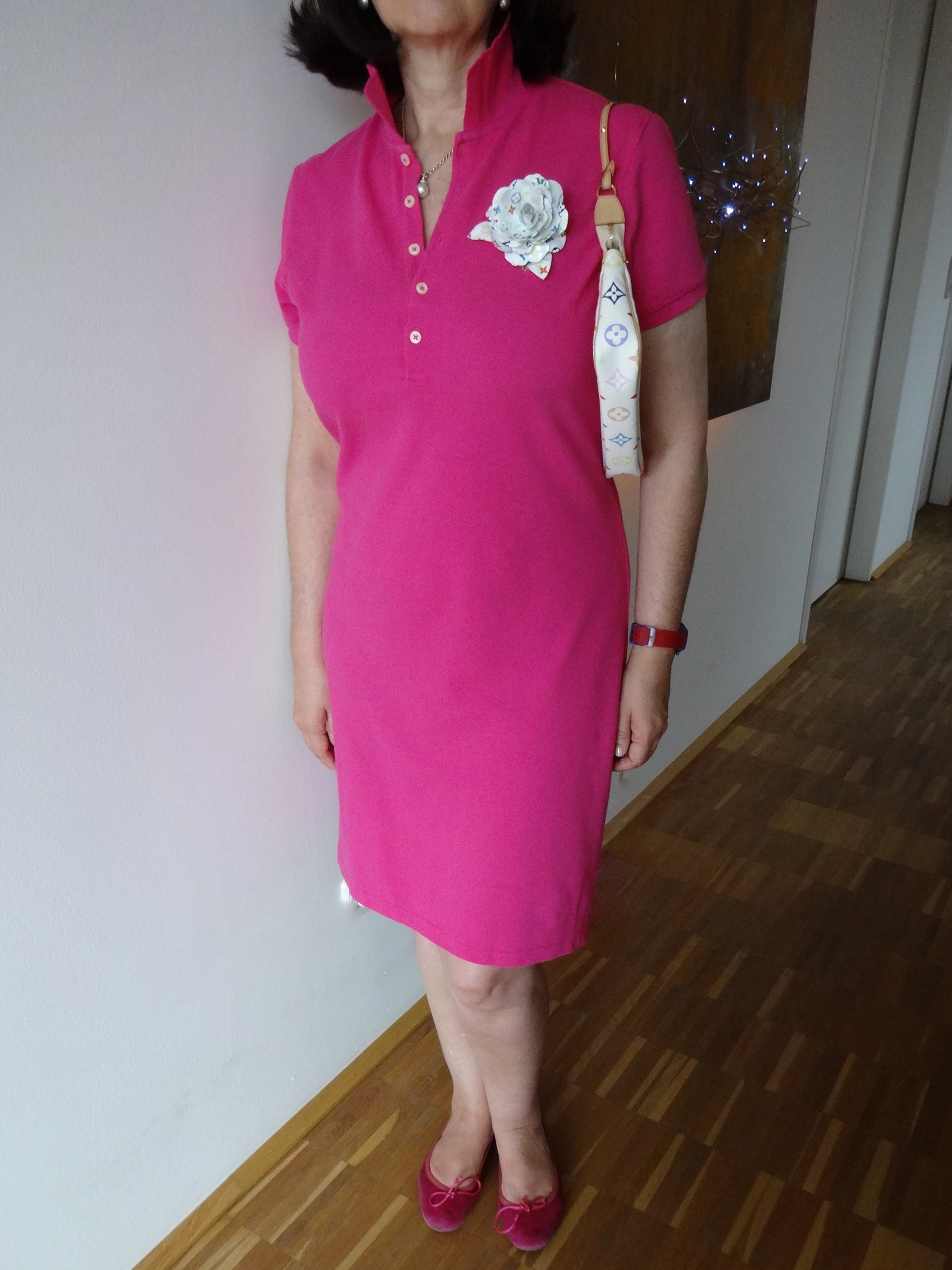 white-ish accessories with bold pink dress