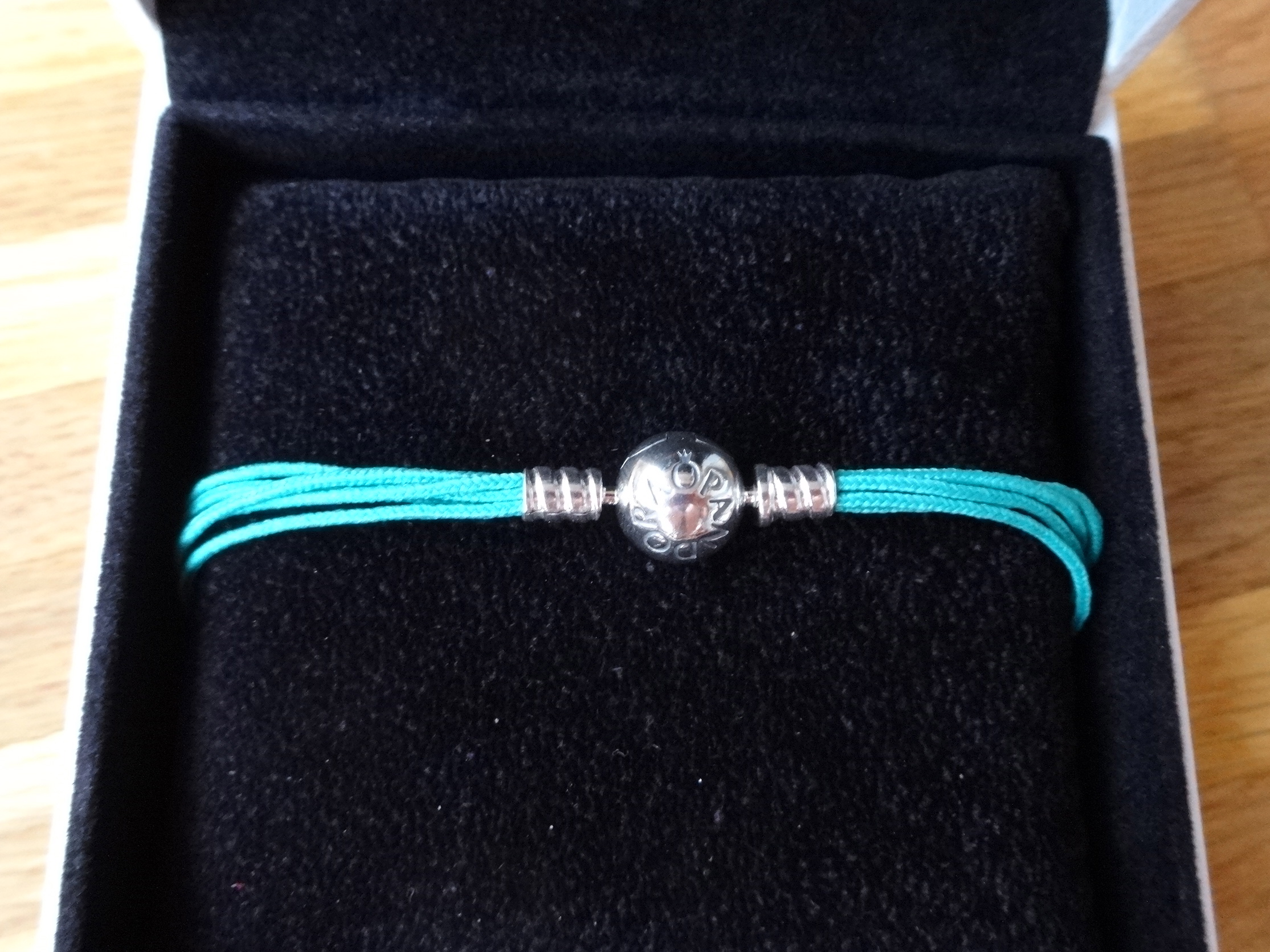 Pandora Moments Multi Textilarmband in aquamarin