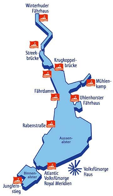 Alster cruise stations / Alsterkreuzfahrt Stationen © ATG