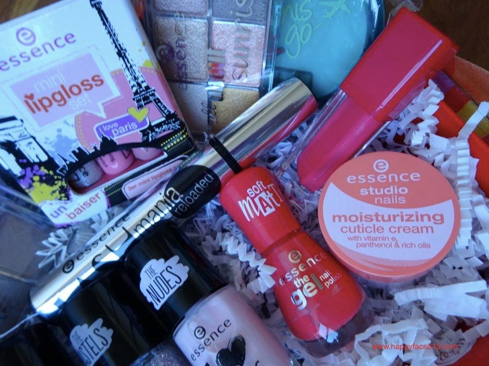 essence mascara, liquid lipstick, cuticle cream, nail polish