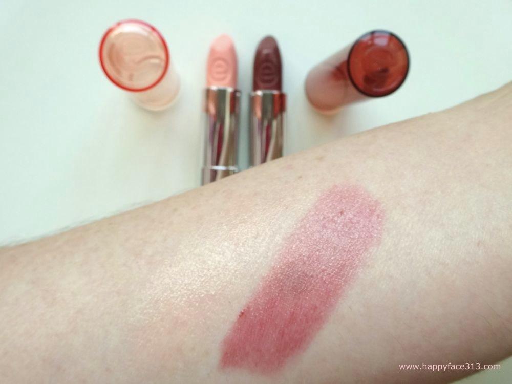 essence sheer & shine lipsticks - swatch