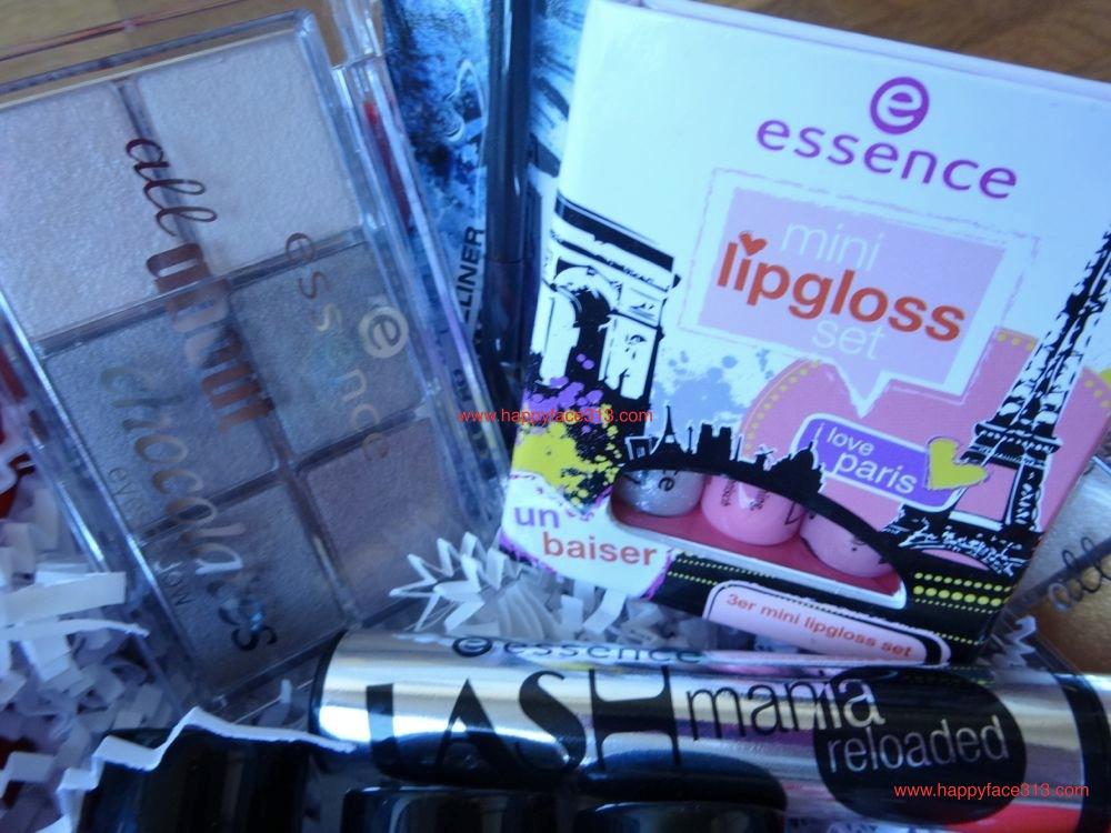 essence eye shadow palette, mascara lipgloss, catrice brush