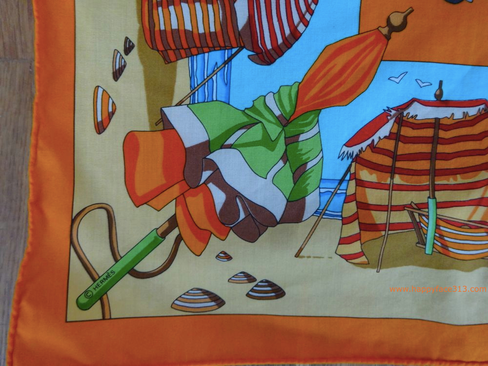 HappyFace313 Hermes travel scarf Charmes des plages Normandes 5