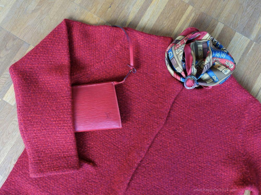 COS Jacke, LV vintage Epi Pochette Accessoires, Hermès Tuch, MaiTai Collection Tuchring
