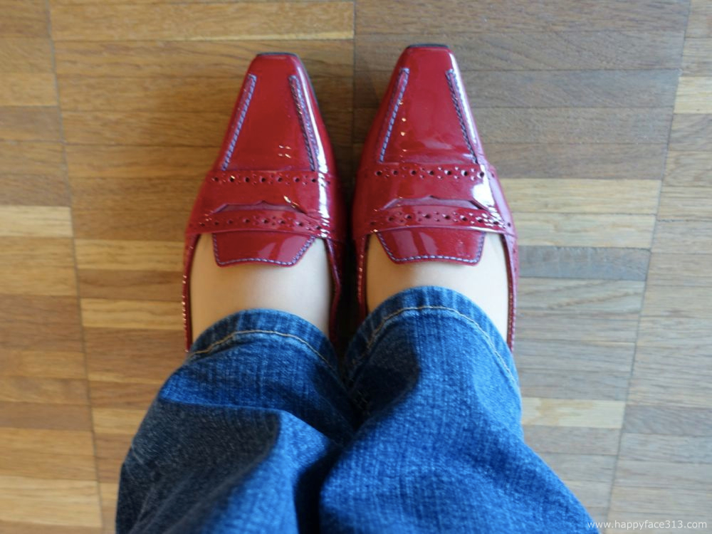 red patent leather shoes by Tod's