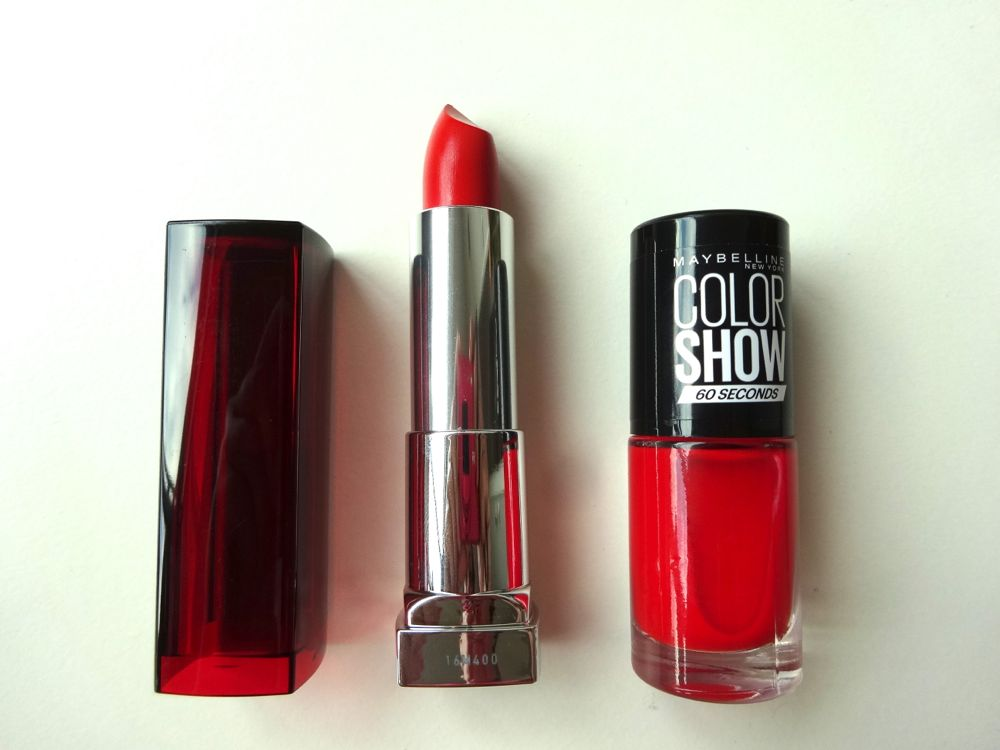 Maybelline - bright red lipstick and nail polish / knallroter Lippenstift und Nagellack