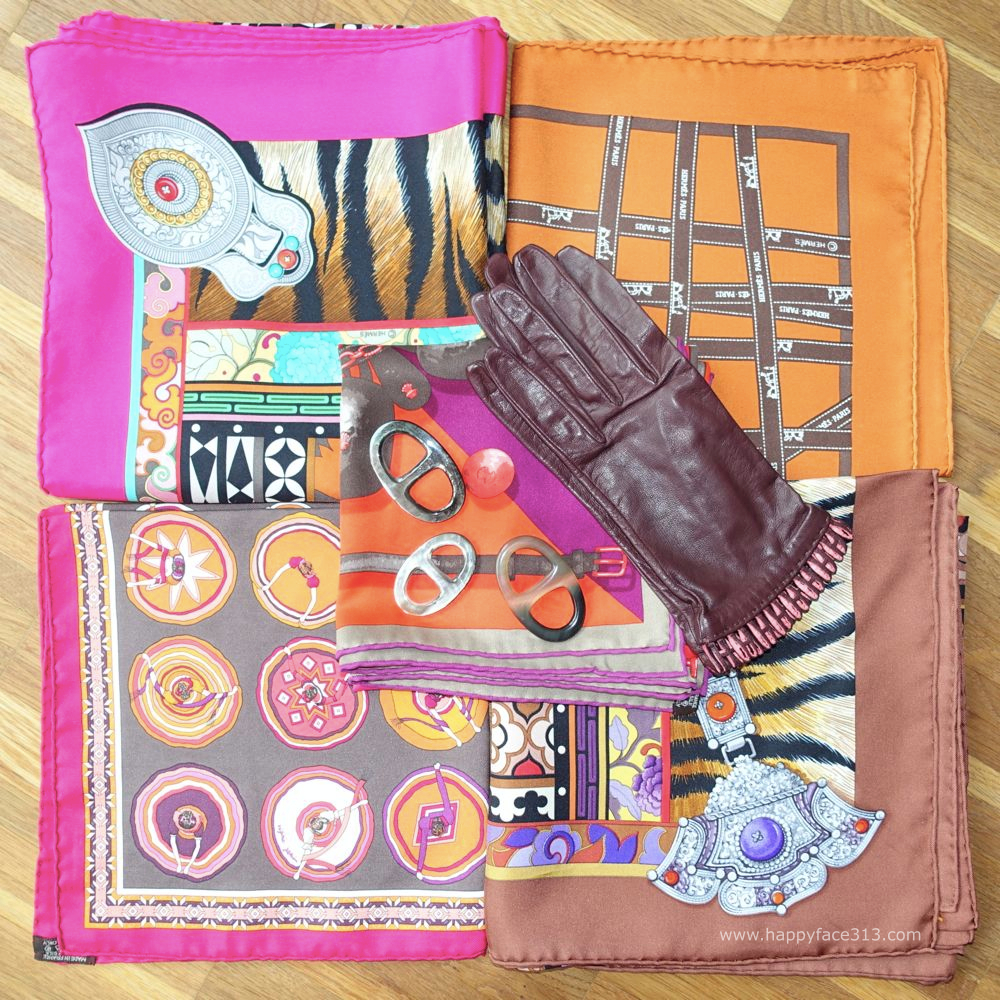 selection of MaiTai Collection scarf rings, Hermès scarves and gloves