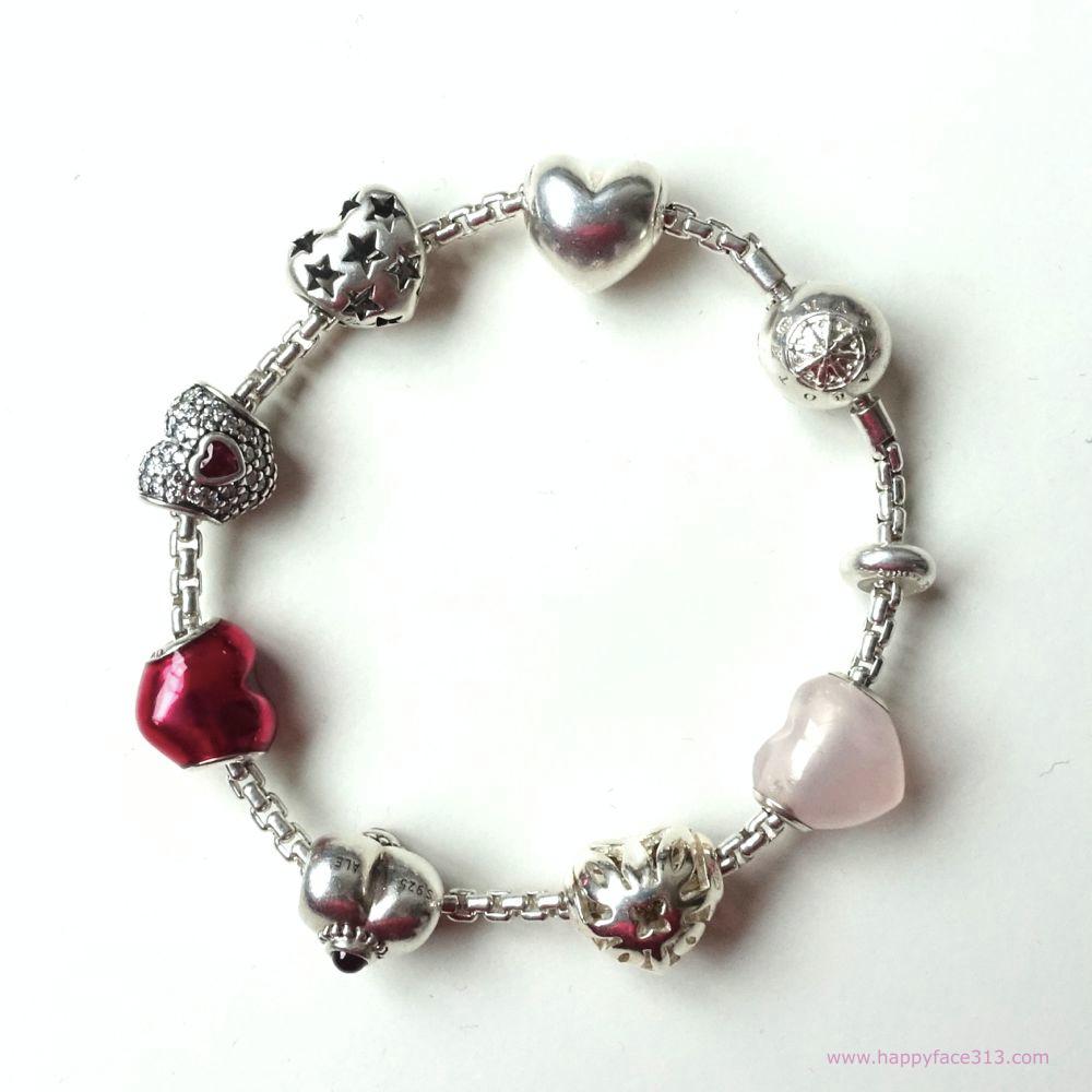 Happy Hearts! Pandora and Thomas Sabo beads on TS Karma Bead bracelet
