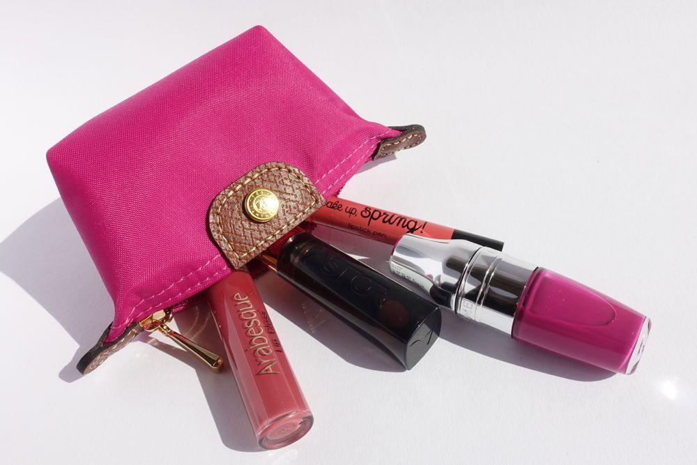 Lippenstifte im Longchamp Etui: Arabesque, Astor, Lancome, essence