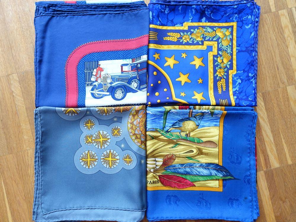 Hermès - blaue Tücher - blue scarves