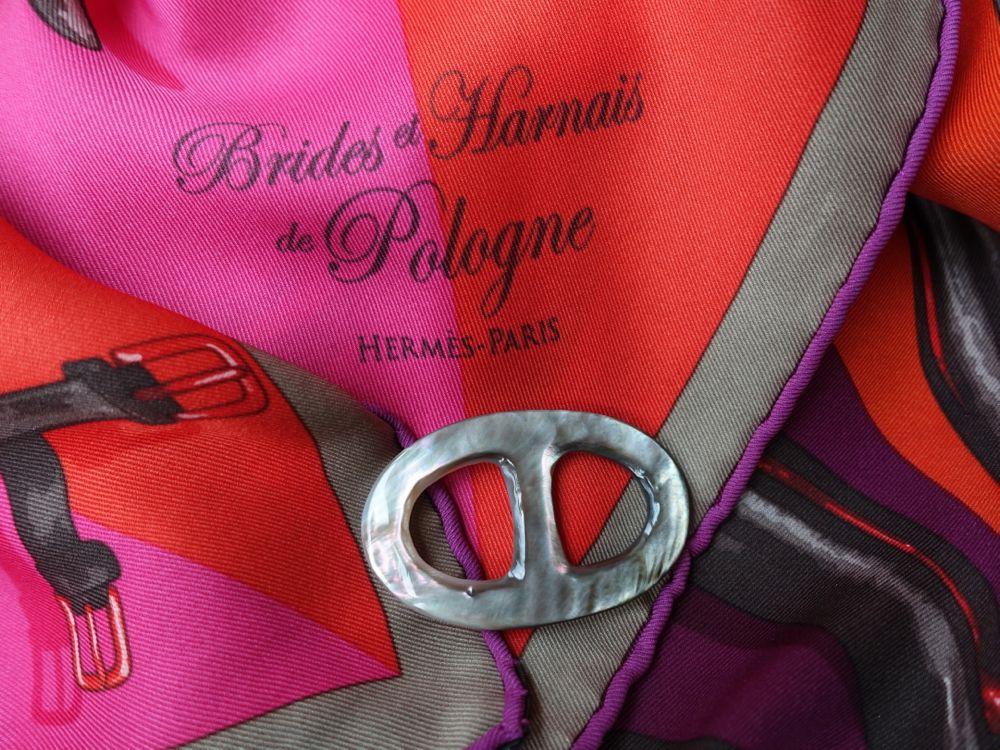 Hermès vintage silk scarf / MaiTai Mother of Pearl scarf ring