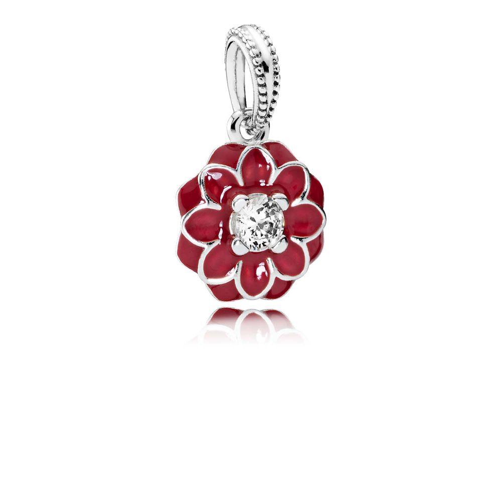 red enamel and cubic zirconia oriental flower - © Pandora