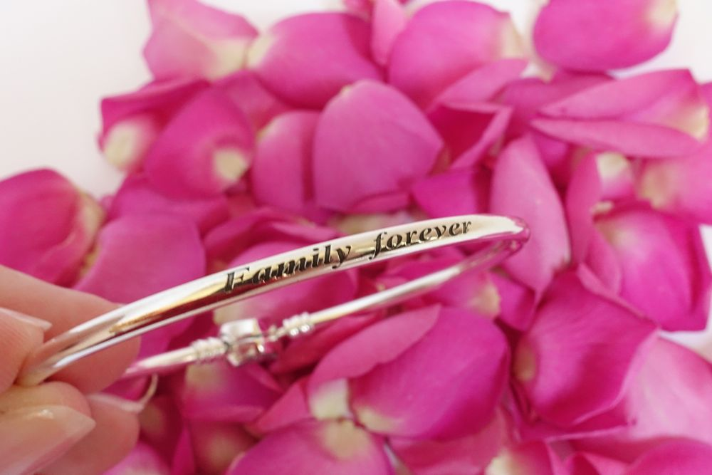 engraving on Pandora's limited edition Mother's Day bangle