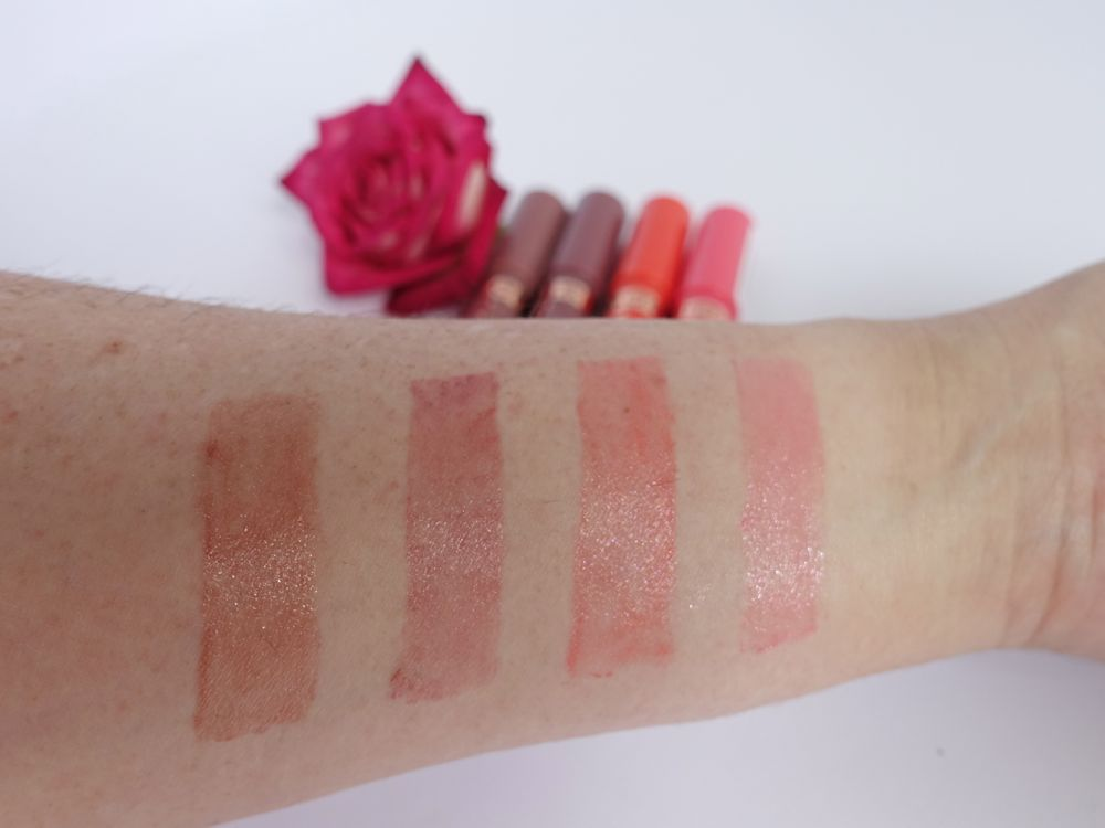 swatch - Soft Sensation Lipcolor Butter Supreme Care: Coco Nude, Dewey Plum, Peachy Sweet, Fluffy Roase (vlnr)