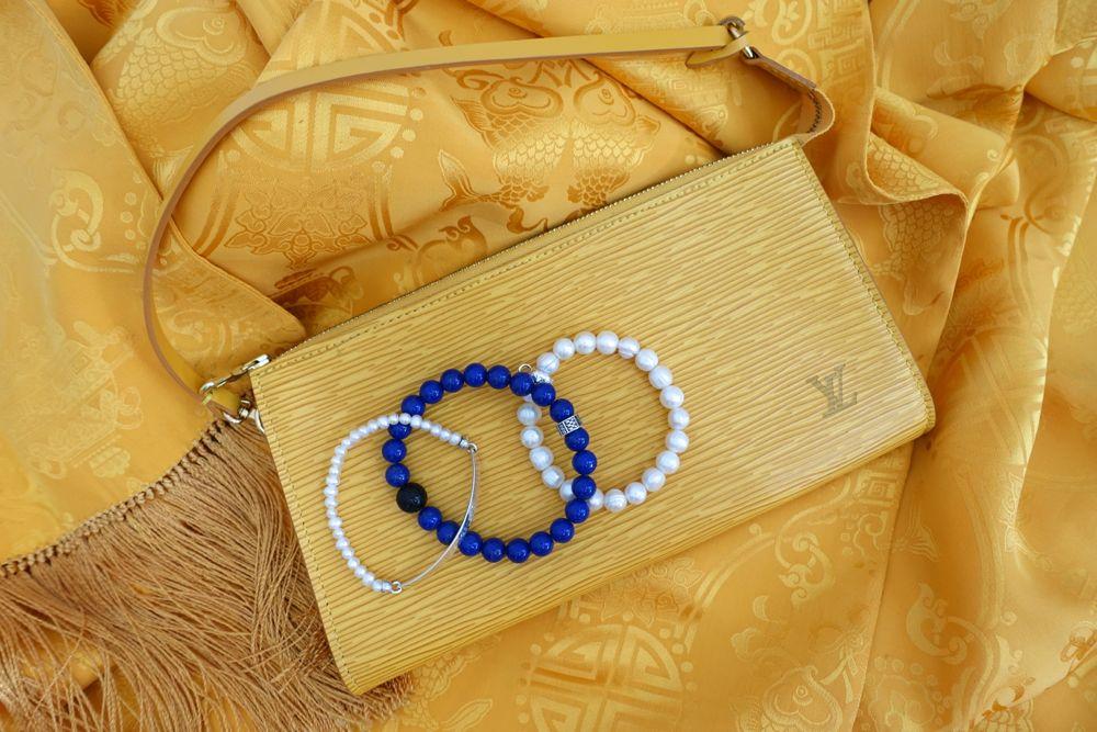 Shanghai Tang silk shawl, LV Epi Pochette Accessoires, Thomas Sabo bracelets